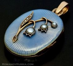 Lily of the Valley Russian guilloche enameled locket