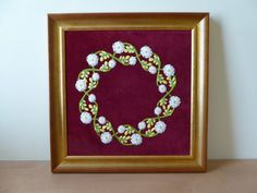 'Plantagenet Wreath' framed hand embroidery by Ruth O'Leary
