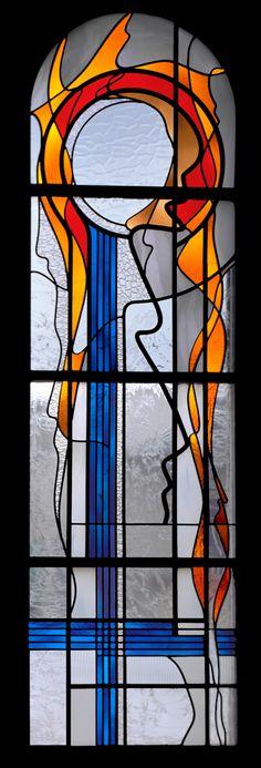 De structuur (constructie) van een gebrandschilderd raam.