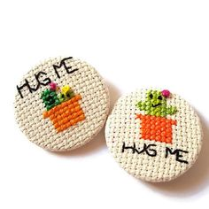Hug Me Cactus Pin Badge Button-Cross Stitch-pin