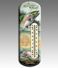 Rainbow Trout Tin Outdoor Thermometer