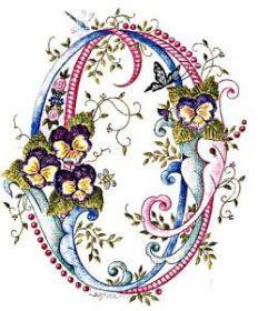 pink blue flower letter O Alphabet Art, Calligraphy Alphabet, Alphabet And Numbers, Letter Art, Embroidery Letters, Embroidery Stitches, Hand Embroidery, Embroidery Designs, Fancy Letters
