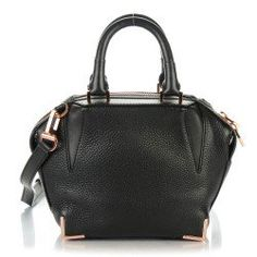 ALEXANDER WANG Pebbled Calfskin Mini Emile Black Rose Gold Hardware