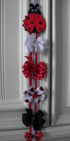 FREE Lady Bug Hair Bow Holder w/Primary Color Hair Bow by bowtowne