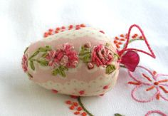 Pin Cushion- Strawberry Emery