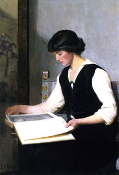 Reading (c.1900). Lilla Cabot Perry (American, 1848—1933). Oil on canvas.   Perry worked in the Impressionist style, rendering portraits and landscapes in the free form manner of her mentor, Claude Monet. She was also greatly influenced by Ralph Waldo Emerson's philosophies and her friendship with Camille Pissarro. Her work with artists of the Impressionist, Realist, Symbolist, and German Social Realist movements greatly affected her style.
