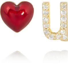 Alison Lou Love U 14-karat gold, diamond and enamel earrings on shopstyle.com