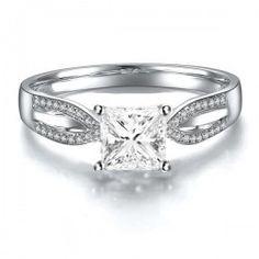Princess 1 Carat Diamond Twin Row Engagement Wedding Ring in White Gold