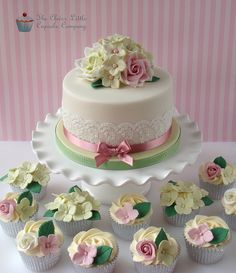 Rose and Hydrangea 90th Birthday Cake | Flickr - Photo Sharing!