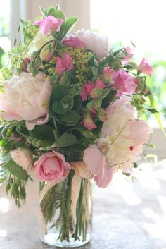 Sweet Pea & Peony jar arrangement