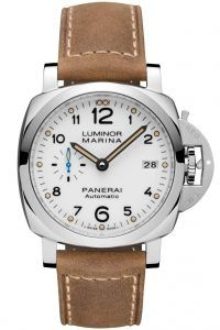 The Newly Released Panerai PAM1523. It is a facelift of the PAM523 42mm Luminor Marina featuring a blue sub second dial, new P.9010 movement, ecru lume, and thinner 1950's case.