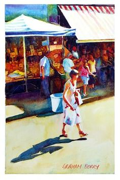 "Daily+Paintworks+-+""Market+shopper.""+-+Original+Fine+Art+for+Sale+-+©+Graham+Berry"
