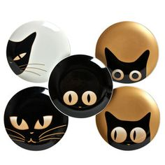 rock painting inspiration:) I need these plates!Cat Eye Plate Set Of 5 (by Miya) - great idea for pottery painting, magnets, cards, icons. These would be darling on painted rocks!Rock Painting Archives - Page 14 of 21 - Crafting For HolidaysCat Eye Plate Pebble Painting, Pottery Painting, Pebble Art, Stone Painting, Eye Painting, Ceramic Painting, Stone Crafts, Rock Crafts, Art Pierre
