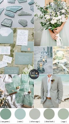Sage Colour Palette For Beach Wedding { Sage   Silver Sage   Mint   Sea Green }