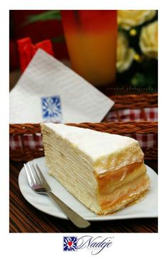 Mille crepe cheese favor from Nadeje ♡♥ Crepe Cake, Crepe Recipes, Mille Crepe, Sweet Cakes, Crepes, Favors, Cheesecake, Sweets, Drinks