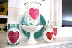Valentine's day diy craft  glass jar or milk glass Candle Holder or Potpourri Holder decorating project : mason jar + doily + handcut heart + twine = cuteness!