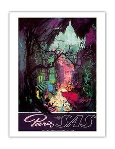 Paris - Scandinavian Airlines SAS - Vintage Airline Travel Poster c.1950s - Fine Art Print - 20in x 26in: Amazon.ca: Maison et Cuisine