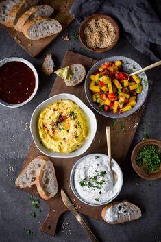 Leckere Dips für's Fondue: Mango-Salsa, Ananas-Dip, Barbecue-Sauce und Kräuter-Dip
