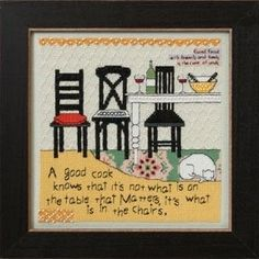 """CG302104 - In the Chairs (2012) - Mill Hill - Curly Girl - Everyday Series Kit Includes: Beads, fabric , floss, needles, chart and instructions.  Mill Hill frame GBFRM21 sold separately Size: 7"""" x 7"""""""