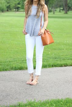 Simplicity  -  White Jeans + Racer Back Tank