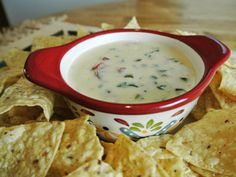 One of my guilty pleasures is chips and Espinaca Queso dip.  This creamy blend of cheese, spinach and jalapenos has become my favorite queso dip.  It's made with Velveeta Queso Blanco which I know ...