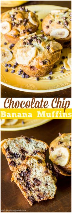 Chocolate Chip Banana Muffins make the perfect breakfast or after school snack! And they are so EASY to make! #breakfast #recipes #healthy #monday #recipe