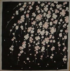 Small Size Cotton 'Weeping Cherry Tree' Furoshiki Japanese Fabric w/Free Shipping