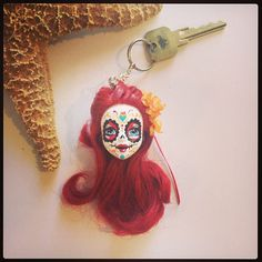 Sugar Skull Doll Keychain Day of the Dead The by STAROSECREATIONS