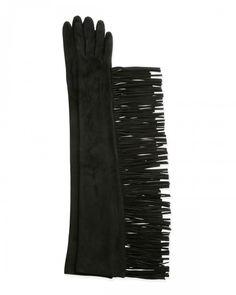 Lanvin Long Suede Gloves W Fringe Black 8 5   Accessory
