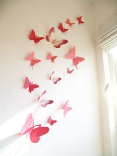 15 Paper Butterflies Butterfly Wall Art by SimplyChicLily Cute for a little girls room Art Mural Papillon, Deco Pastel, Paper Wall Decor, Wall Decorations, Butterfly Wall Decor, Butterfly Nursery, Butterfly Decorations, Pink Butterfly, Paper Butterflies