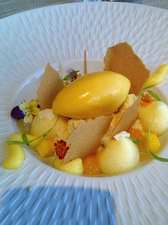 Tropical Tres Leche Cake with Passion Fruit Sorbet... by Pastry Chef Antonio…