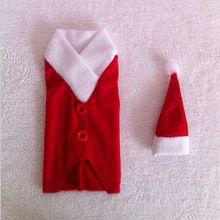 2014 новый год декоративные рождественские костюмы для бутылки вина обложки бесплатная доставка(China (Mainland))