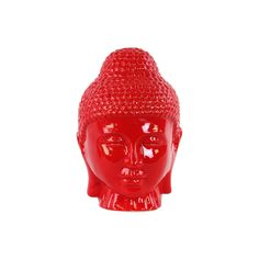 Urban Trends Collection Ceramic Gloss Finish Red Buddha Head with Rounded Ushnisha (Ceramic Head Gloss Finish Red)