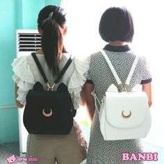 2016 Cute Large Sailor Moon Samantha Vega Luna Backpack Black White Cat Luna Moon Women Bag Leather School Bag metal moon