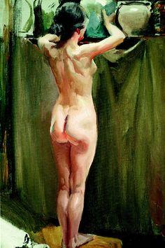 The Athenaeum - Nude Woman (Joaquin Sorolla y Bastida - ) Woman Painting, Figure Painting, Figure Drawing, Painting & Drawing, Art Beauté, Madrid, Spanish Painters, Life Drawing, Erotic Art