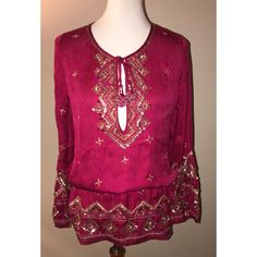 Calypso St. Barth $75 ** Free Shipping ** Nwt Size S Sequin Fioretta Top. Free shipping and guaranteed authenticity on Calypso St. Barth $75 ** Free Shipping ** Nwt Size S Sequin Fioretta TopDetails - Split neck with tie closure - Long sleev...