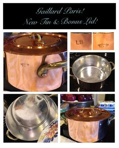 "UNIQUE! 6.5"" GAILLARD PARIS RB FRENCH ANTIQUE COPPER CASSEROLE PAN POT BONUS LID  
