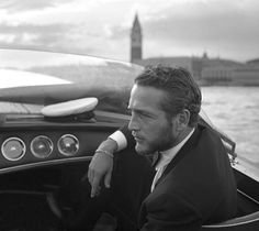 Paul Newman in a water taxi in Venice, 1963