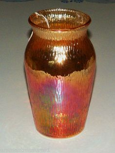 Beautiful Vintage Marigold Orange Tree Bark Carnival Jeanette Glass Vase 7 1 2"