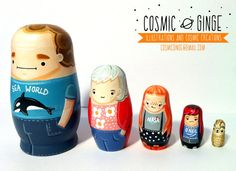 Cosmic Ginge Custom Personalised OOAK Family Pets Russian Dolls / Nesting Dolls Made To Order