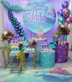 Ozel gunlerinizi emanet edin, Siz isteyin biz yaradaq💜 If you want incredible and tasty cake or any organization say us, we made u dear❤️❤️❤️ e 2 Birthday, Mermaid Theme Birthday, Little Mermaid Birthday, Girl Birthday Themes, Little Mermaid Parties, 4th Birthday Parties, Mermaid Party Decorations, Birthday Party Decorations, Table Decorations