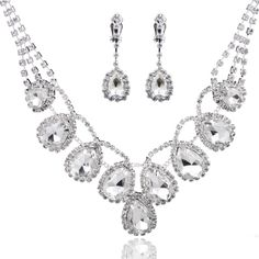 Graceful Water Drop Ladies' Women' s Alloy Wedding Party Jewelry Set with Rhinestone Including Earrings