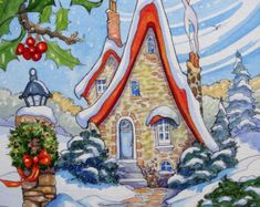 "Daily Paintworks - ""Baby Its Warm Inside Storybook Cottage Series"" - Original Fine Art for Sale - © Alida Akers Christmas Drawing, Christmas Paintings, Christmas Art, Christmas Landscape, Cottage Christmas, Storybook Cottage, Cottage Art, Illustration Noel, Christmas Illustration"
