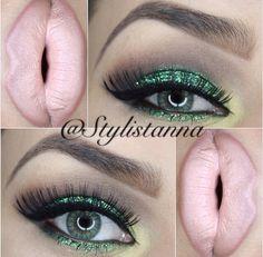 Green glitter makeup