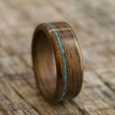 Walnut Bentwood Ring with Offset Turquoise Inlay by stoutwoodworks  http://www.wanelo.com/women/Walnut+Bentwood+Ring+with+Offset+Turquoise+Inlay+by+stoutwoodworks-369545.html
