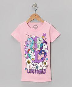 Light Pink 'Peace Love & Ponies' Tee - Girls #zulily #zulilyfinds