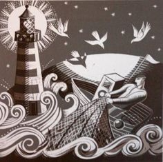 Night Fisherman by Sarah Young Modern Art, Contemporary Art, Etching Prints, Art Techniques, Online Art, Graphic Illustration, Making Ideas, Printmaking, Art Gallery