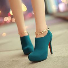 Chains Blue Leather Round Closed Toe Stiletto Super High Heel Boots #ShopSimple