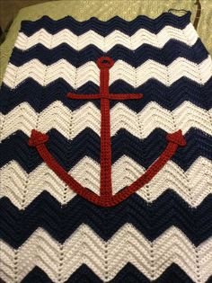 wished a pattern came with this. Time to get creative! Crochet Anchor, Nautical Crochet, Nautical Baby, Baby Afghan Crochet, Crochet Stitches, Knit Crochet, Afghan Patterns, Crochet Ideas, Baby Afghans