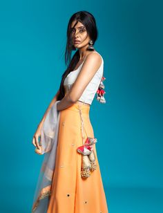 lehenga, indian, ethnicwear, styling, fashion blogger, indianwear, fashion, trends, orange, jewellery